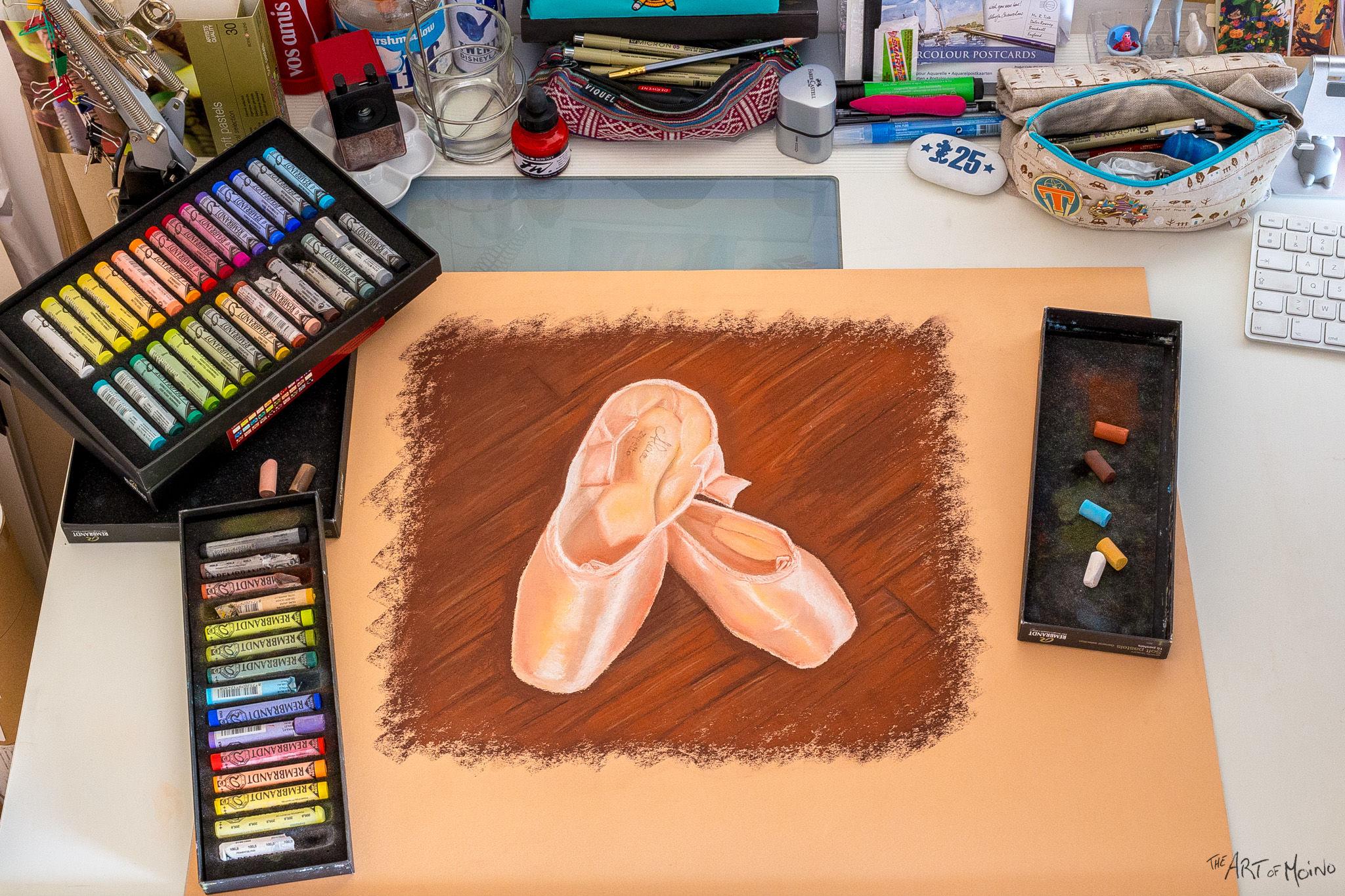 Chaussons de danse dessiné aux pastels