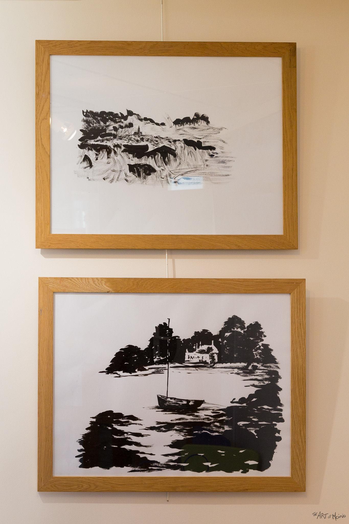 (en bas) Mon paysage Bretons fait à l'encre de chine, à la mini-expo de l'Usine à Chapeaux à Rambouillet