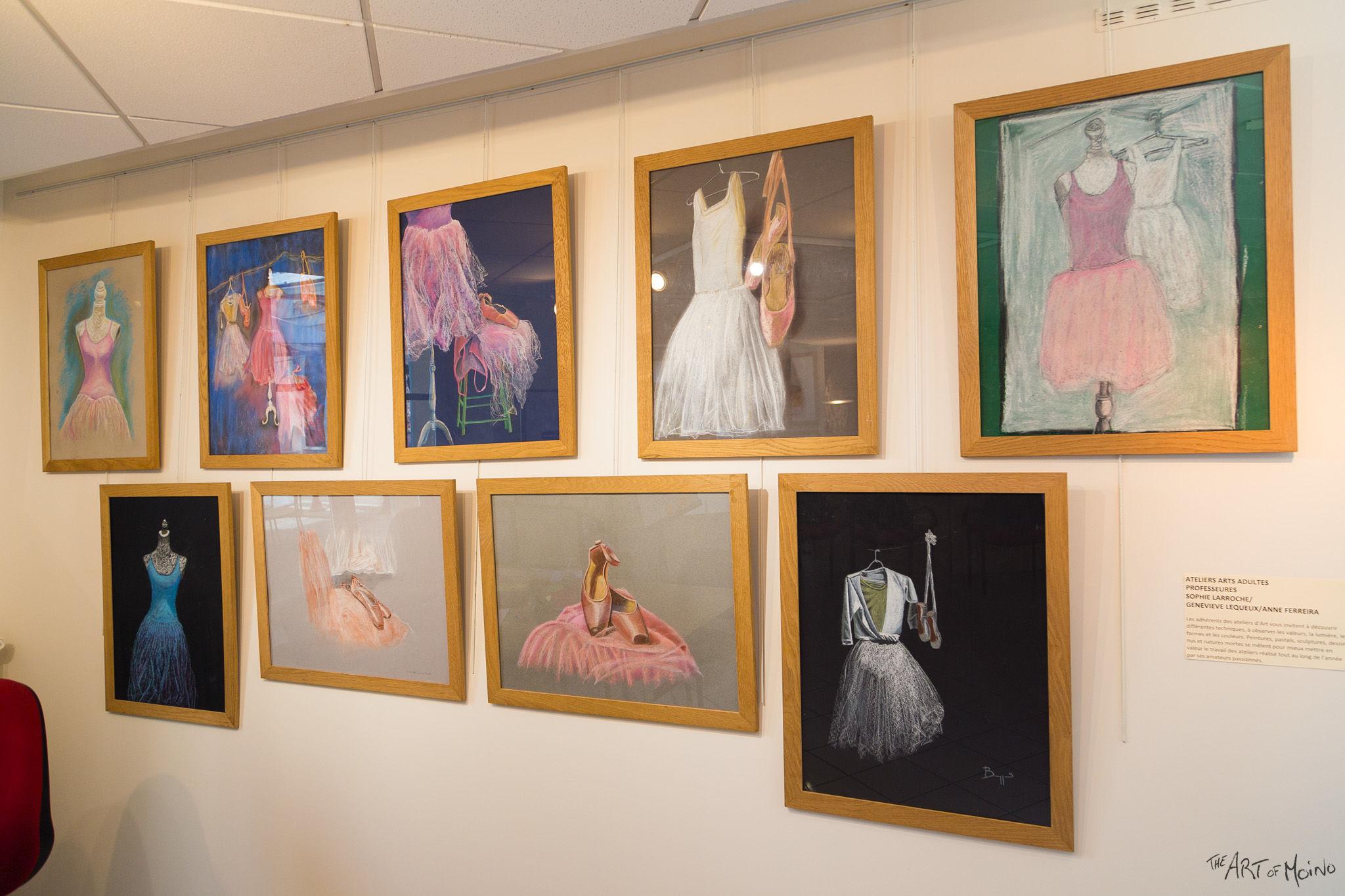 (en haut à gauche) Mon dessin au pastels, et aussi plein d'autres à la mini-expo de l'Usine à Chapeaux à Rambouillet