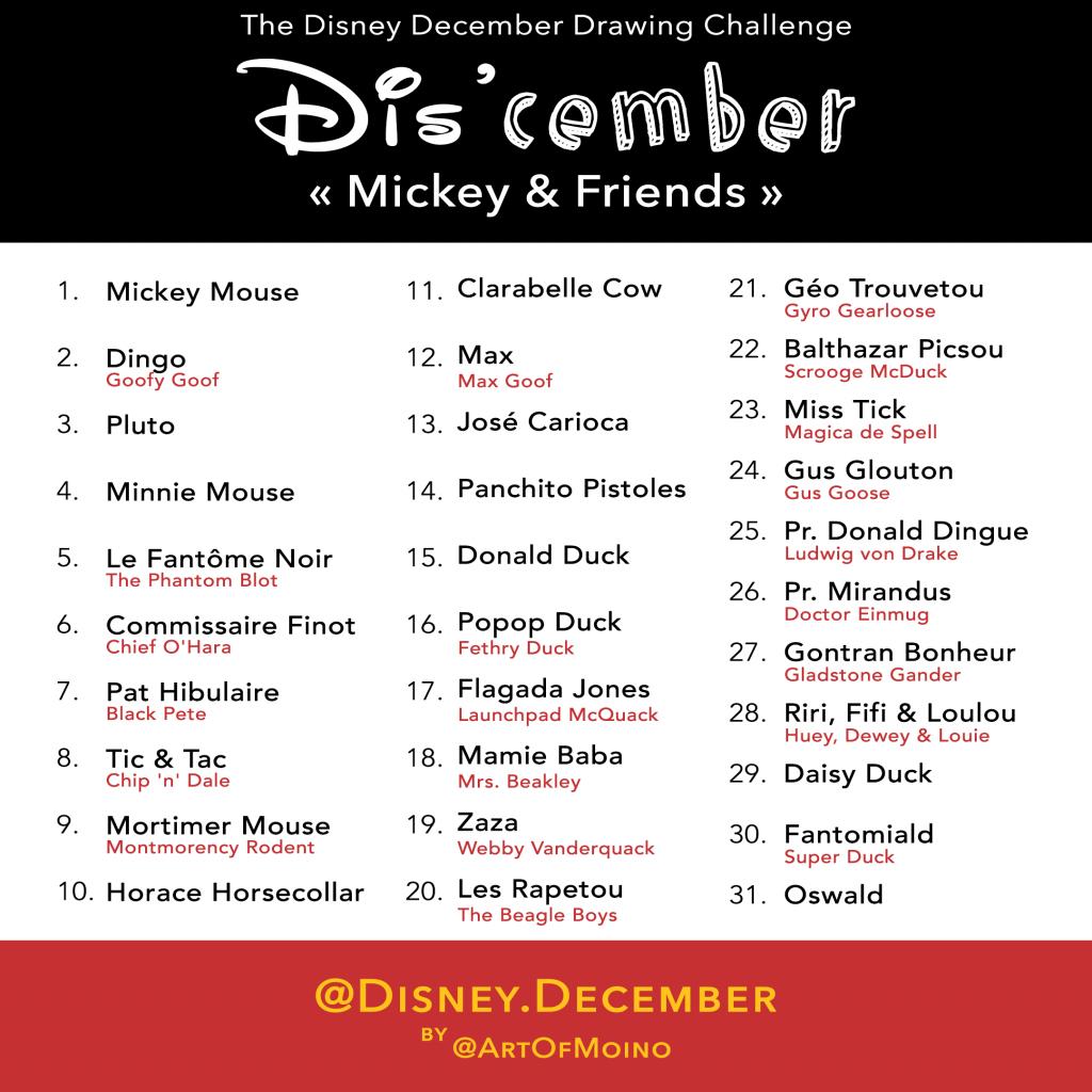 Dis'cember - Liste / List - Disney December 2018