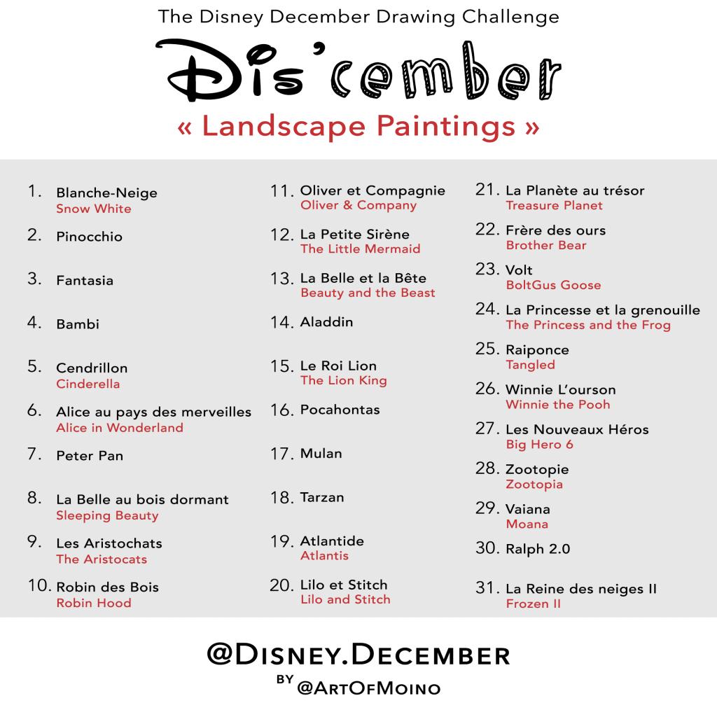 Dis'cember - Liste / List - Disney December 2020